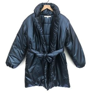 Lovers + Friends Metallic Blue Puffer Coat- Size S